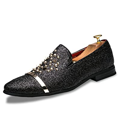 b6b1863a3cc9 Orcan Bluce Men Loafers Silver Black Diamond Rhinestones Spiked Loafers  Rivets Red Bottom Wedding Party Shoes