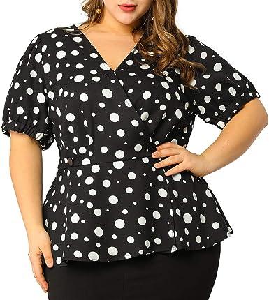Agnes Orinda Womens Plus Size Polka Dots Short Sleeve Summer Peplum Top
