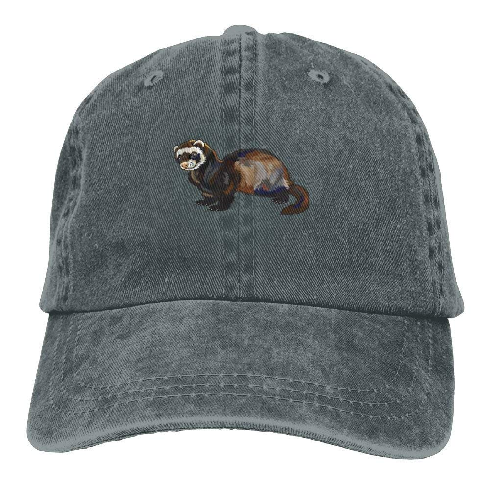 shyly Funny Ferret Denim Hat Adjustable Men Curved Baseball Hat
