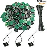 """100 Pack Black Self Adhesive Cable Tie Mounts 1""""x1"""" with 100 Pack Zip Ties for Secure Wires by V-story"""