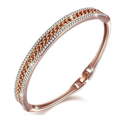 Menton Ezil Princess Crystal Bracelet Rose Gold Luxury Jewelry Adjustable Bangle  Bracelets for Womens Girls Wife d3260eb3a188