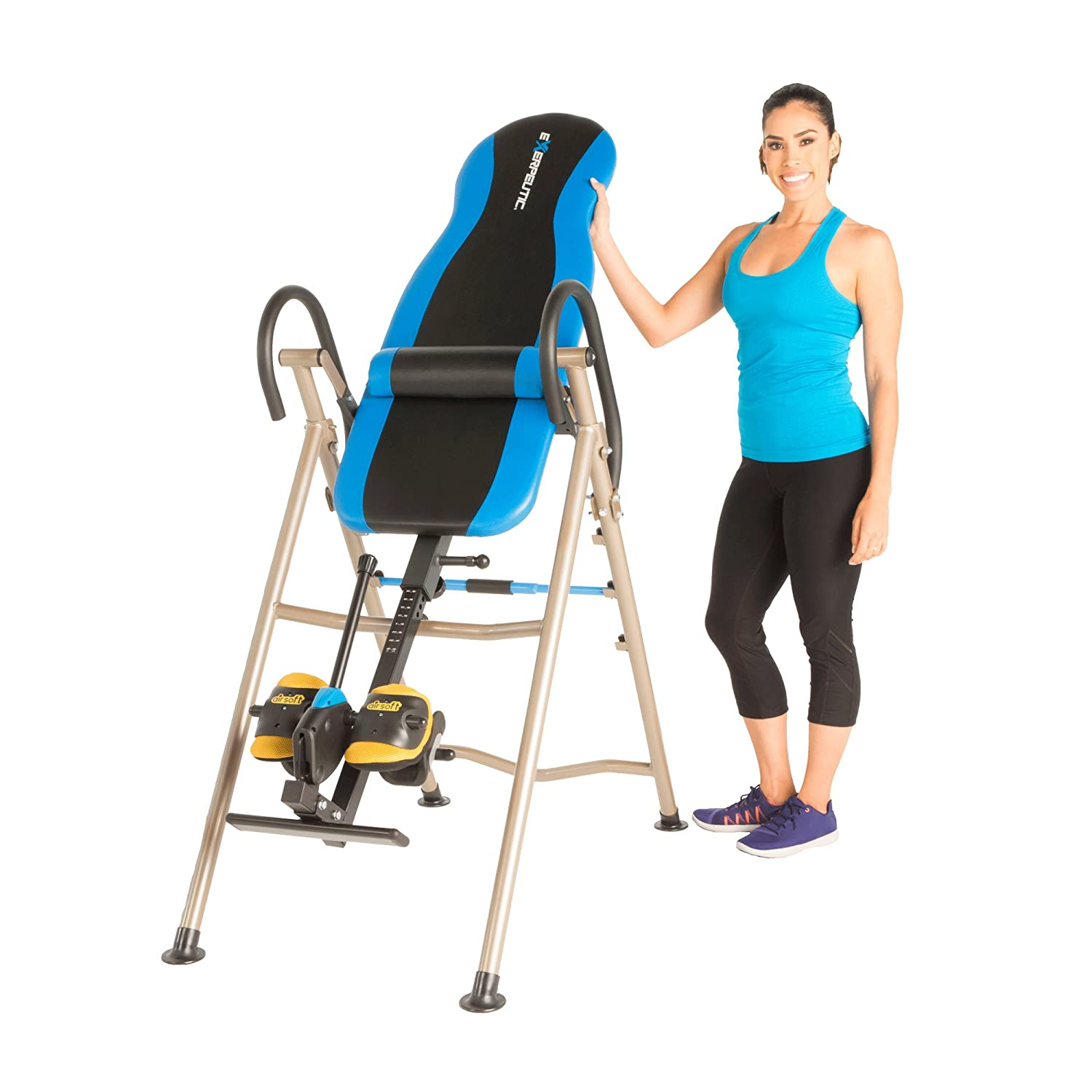 EXERPEUTIC Inversion Table with AIRSOFT NO PINCH Ankle Holders, SURELOCK Safety Ratchet System, and Lumbar Support