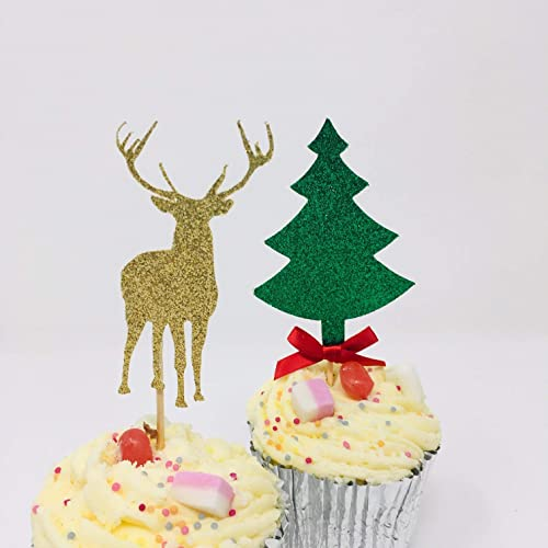 Reindeer Cupcake And Christmas Tree Topper With The Bow 12 Pieces