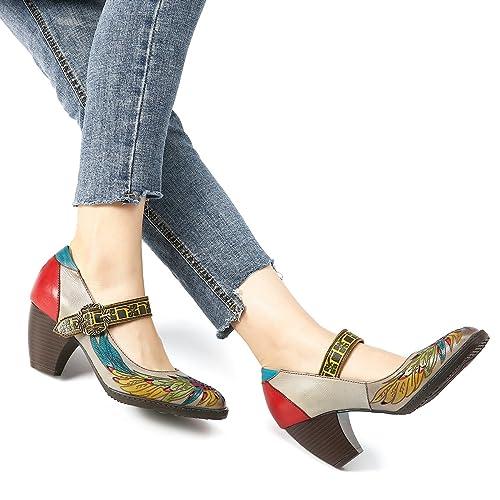 Socofy Cuero Zapatos de Tacón Medio, Merceditas Tacónes Fabricados a Mano en Piel Genuina para