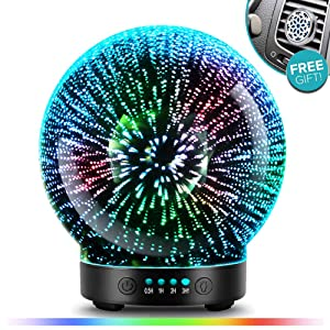 3D Glass Aromatherapy Essential Oil Diffuser – Newest Version fragrance oil Humidifier, 7 LED Color lighting modes firework theme, Premium Ultrasonic mist, Auto-Off Safety Switch, Car Vent Clip