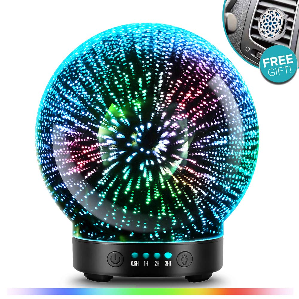 3D Glass Aromatherapy Essential Oil Diffuser - Newest Version fragrance oil Humidifier, 7 LED Color lighting modes firework theme, Premium Ultrasonic mist, Auto-Off Safety Switch, Car Vent Clip