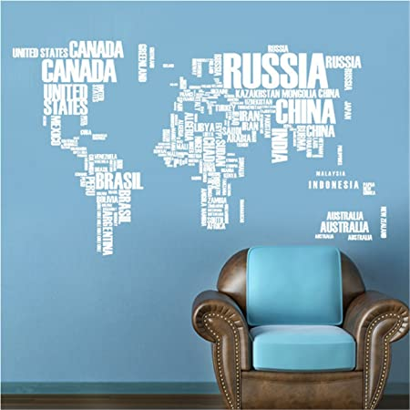 Takefuns world map wall sticker country name wall sticker decal in takefuns world map wall sticker country name wall sticker decal in words large text world gumiabroncs Choice Image