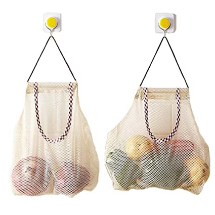 760a19b772c Amazon.com: 2Pcs Kitchen Garlic Ginger Mesh Storage Bag Vegetable Onion  Potato Storage Hanging BagHollow Breathable Mesh Bag (2pcs Garlic Ginger  Storage ...