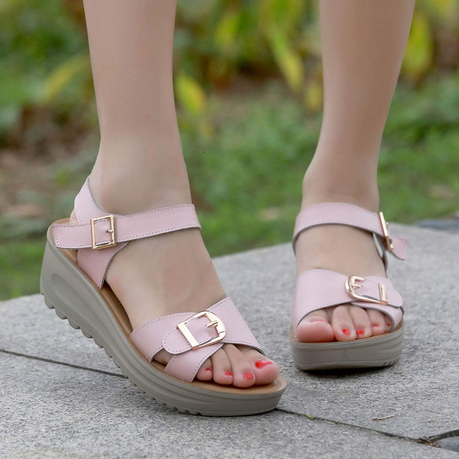 Fanatical-Night Women Sandals Summer Flat Sandals with Thick Casual Wedge Sandals Women Shoes Buckle Flat Sandals