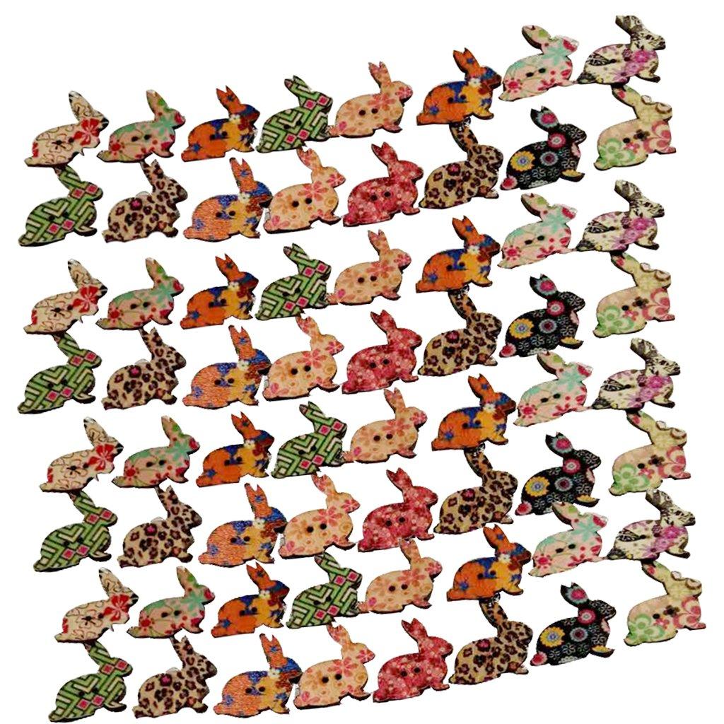 50pcs Boutons En Bois En Forme De Lapin Mignon Collection Bricolage Vêtement