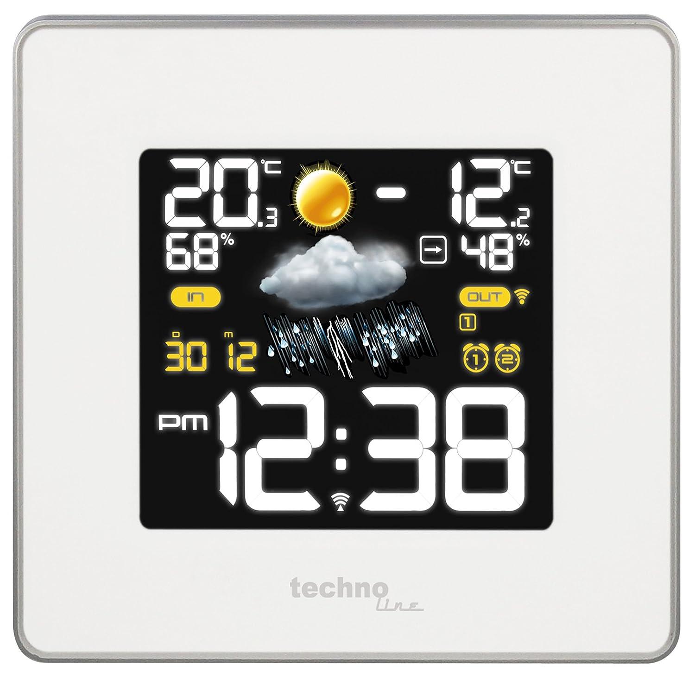 /Übertragungsfrequenz 433 MHz wei/ß Temperatur-,Luftfeuchte- 14,8 x 5,4 x 13,7 cm Technoline WS 6440 moderne Wetterstation mit Funkuhr und Luftdruckanzeige inklusive Au/ßensender TX96-TH-TW003