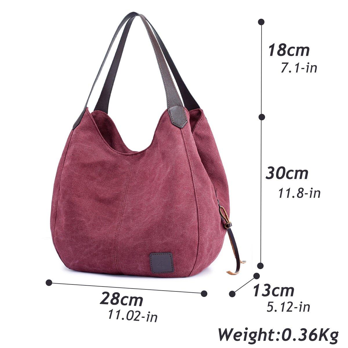 a572aa48d118b Crossbody Bags Hiigoo Fashion Womens Multi-pocket Cotton Canvas Handbags  Shoulder Bags Totes Purses FBB0179-06