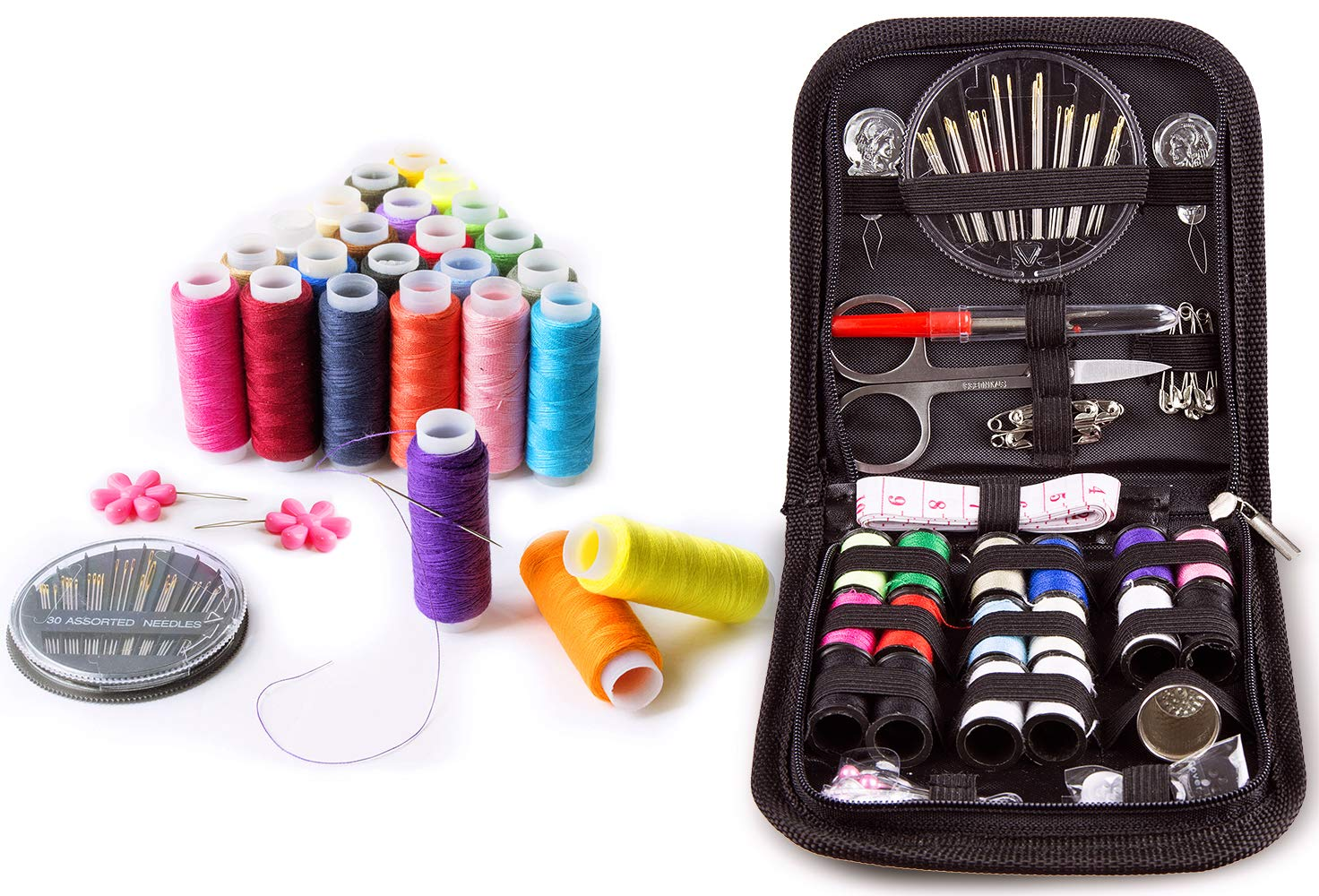 Sewing KIT, Tackle Any Fashion Emergency - Clothing Repairs at Home & in The Office. Highly-Rated Mini Sew Kit for Travel Trips. Mending Supplies & Accessories (Multicolored 1, Bundle-SK-BL&ST) by VELLOSTAR