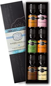 Winter Set of 6 Premium Grade Fragrance Oils - Cinnamon, Gingerbread, Sugar Cookies, Harvest Spice, Peppermint, Christmas Wreath - 10ml