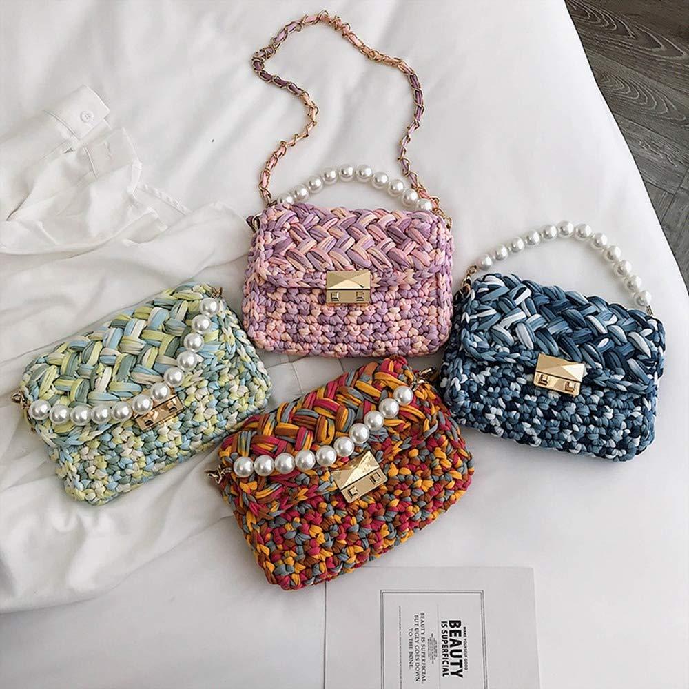 SODIAL Square Bag Summer Fashion New Weaving WomenS Designer Handbag Pearl Lock Chain Shoulder Messenger Bags Pink