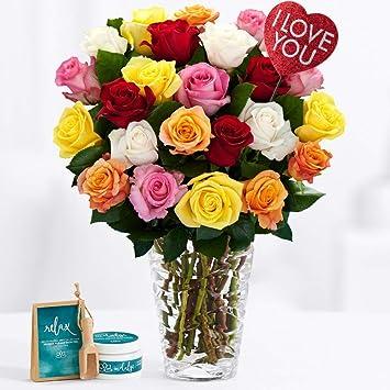 Amazon Com Proflowers Multi Colored Roses 24 Long