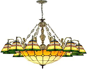 Tiffany Style Stained Glass Chandelier Bohemia Retro Hanging Pendant Lamp for Living Room Bedroom Dining Room Stairs Decoration Ceiling Lighting Fixture, 110-240V, E27,12 Head