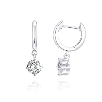 673ddafd5 Amazon.com: PAVOI 14K Gold Plated CZ Ear Huggie Drop Earring - White ...
