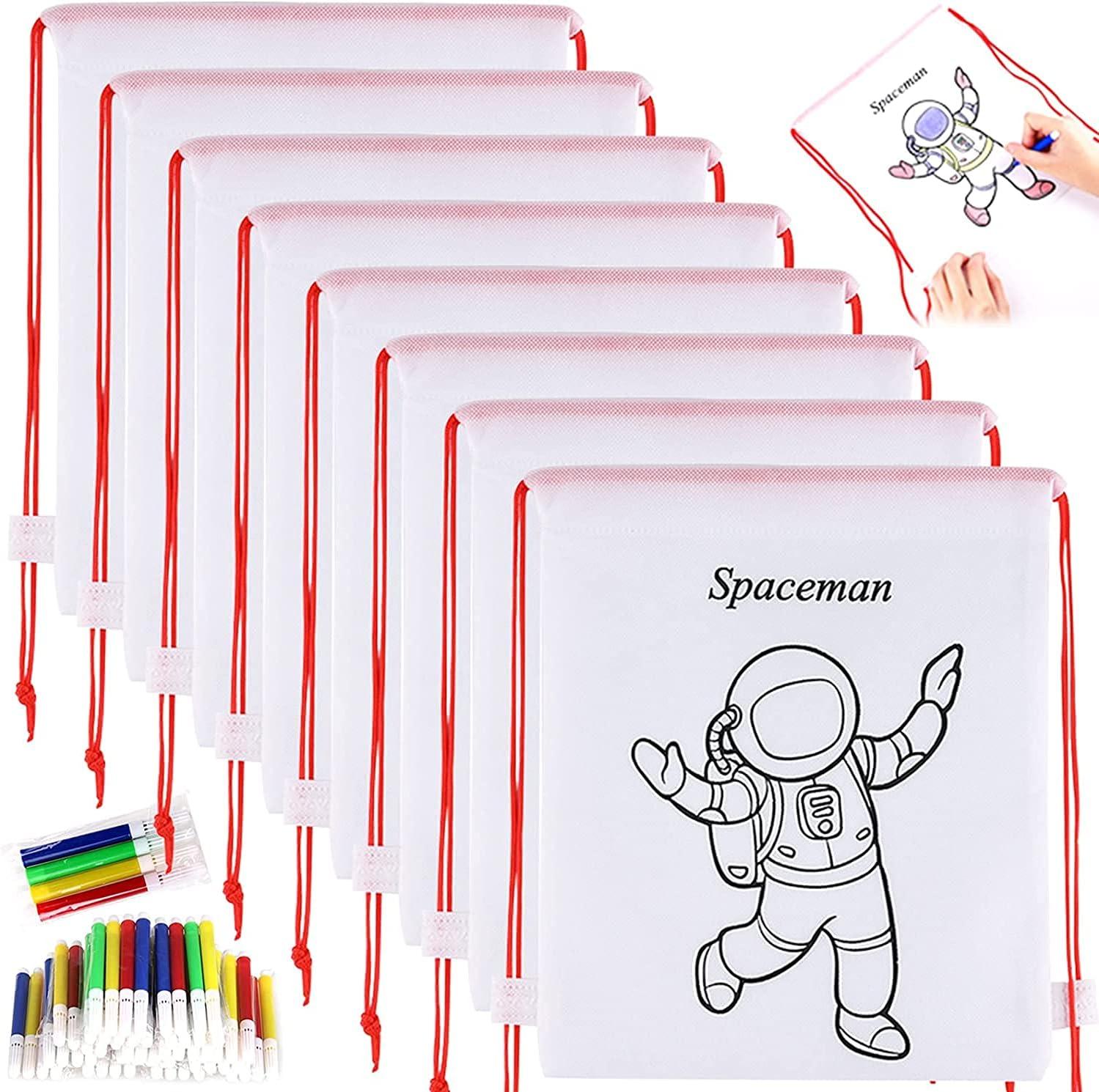 GOLDGE 16 Mochilas para Colorear+ 16 Lápices de Color Lavables, 16 Piezas Kit de Mochilas para Colorear y Rotuladores de Colores, para Rotuladores de Regalo niños Fiestas y cumpleaños
