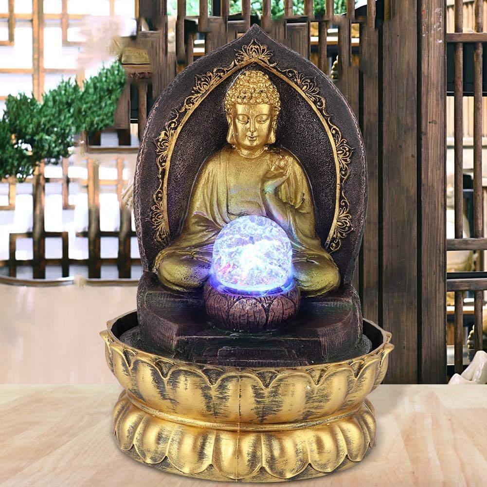 banapo Buddha Water Fountains Indoor Buddah Statute, Sitting Sculpture Decoration for Office Home(110V, U.S. Standard)