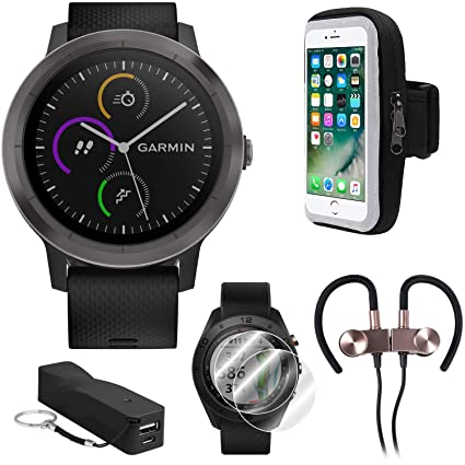 Garmin Vivoactive 3 GPS Fitness Smartwatch w/Deco Gear Runner Bundle - Black+Gunmetal