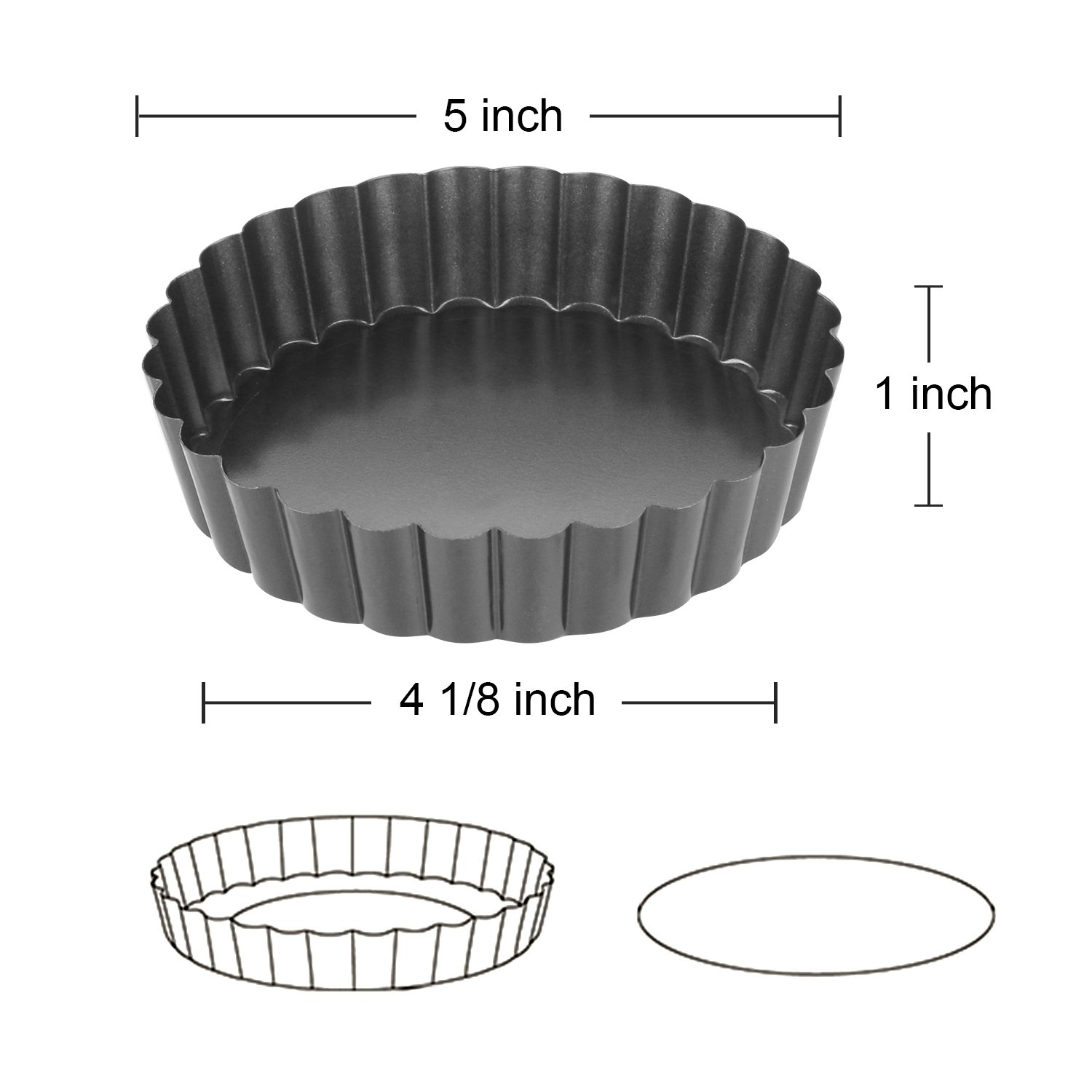 Quiche Pans, Homono Commercial Grade Non Stick Removable Bottom 5 Inch Mini Tart Pans (Pack of 6) by HOMONO (Image #3)