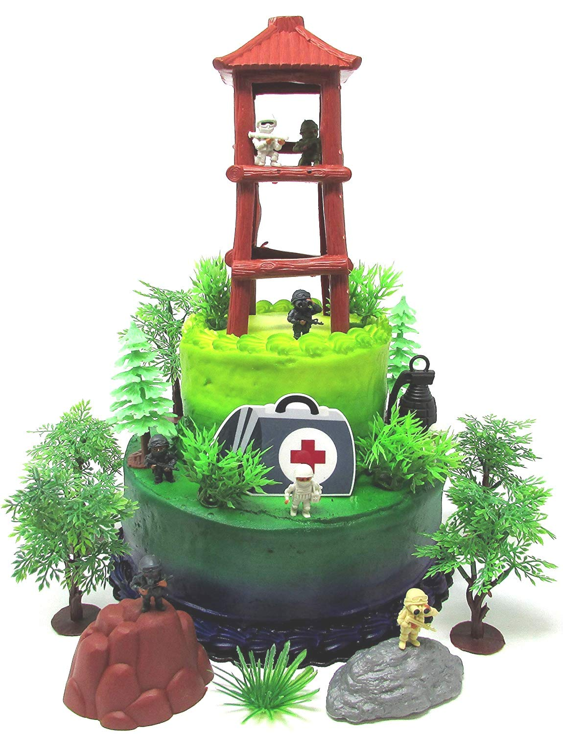 Battle Crusade Survival Royale Gaming Themed Cake Topper with Battle Figures and Resource Themed Accessories