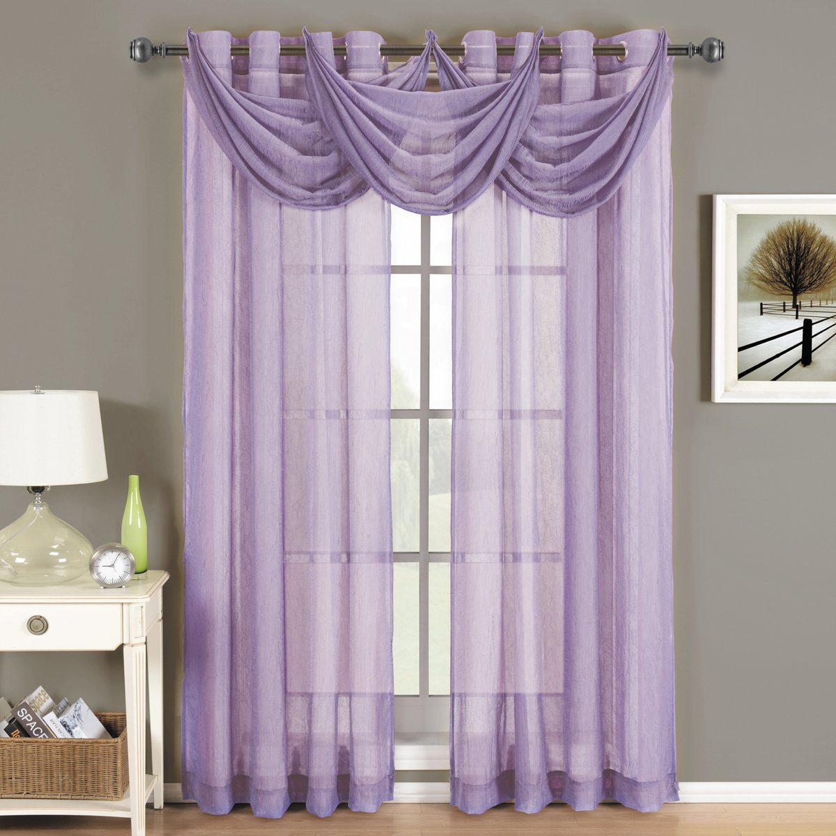 Luxury Abri Lavender Grommet Crushed Sheer Curtain