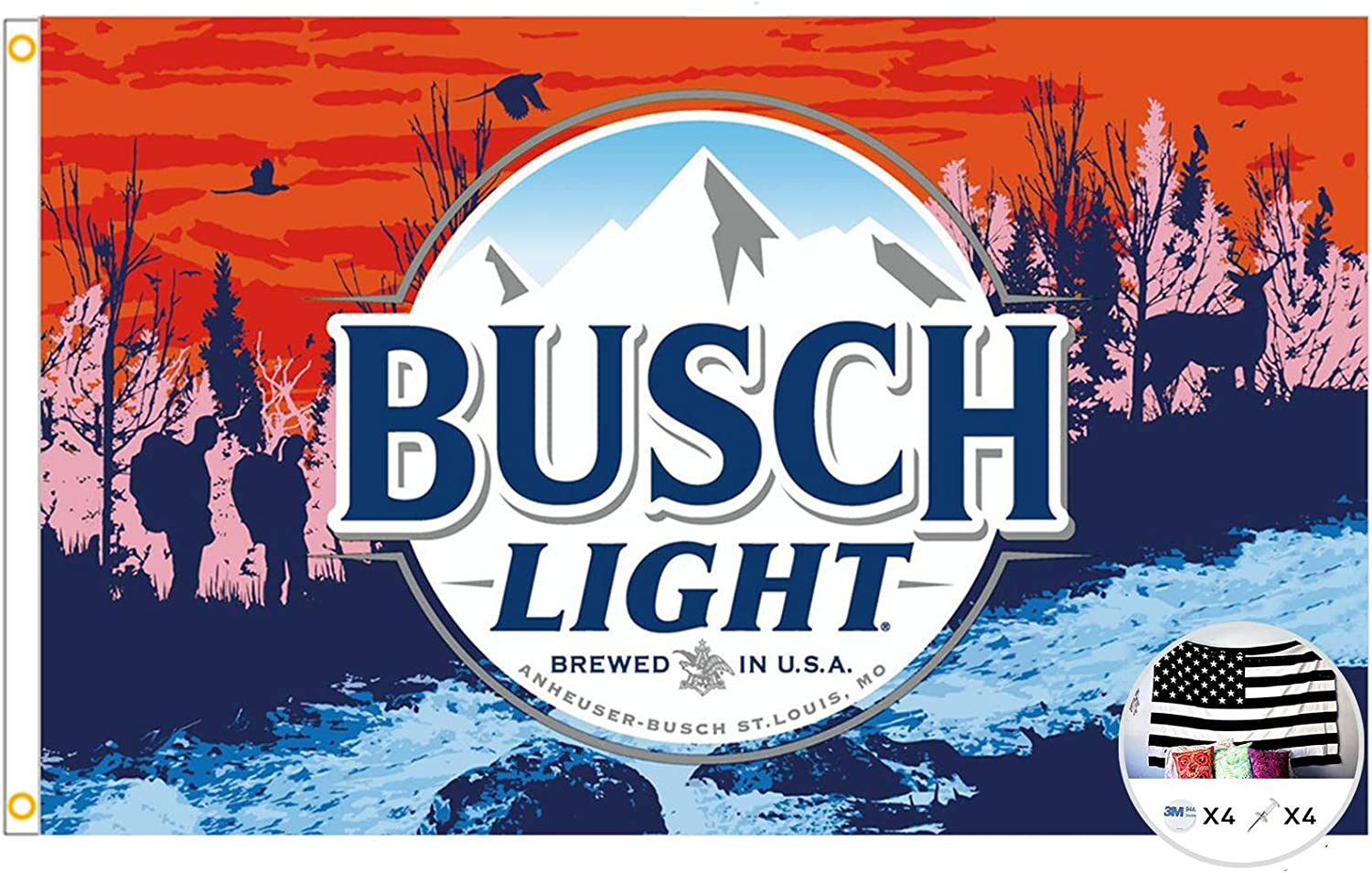 Probsin Busch Light Flag Cool Beer Flags,3x5 Feet Banner,Funny Poster UV Resistance Fading & Durable Man Cave Wall Flag with Brass Grommets for College Dorm Room Decor,Outdoor,Parties,Gift,Tailgates