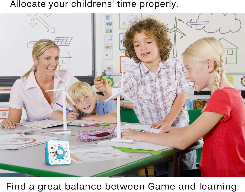 outil de gestion du temps pour enfants et adultes compte /à rebours silencieux Blue Yunbaoit Minuteur analogique visuel