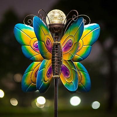 Solar Lighted Butterflies with Gazing Ball Wind Spinner Garden Stake