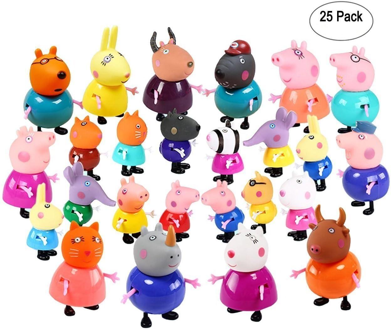 New Brand 25 Pcs/Set Cute Peppa Pig Figures 25 Cartoon Heroes Kids: Amazon.es: Juguetes y juegos
