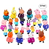 New Brand 25 Pcs/Set Cute Peppa Pig Figures 25 Cartoon Heroes Kids