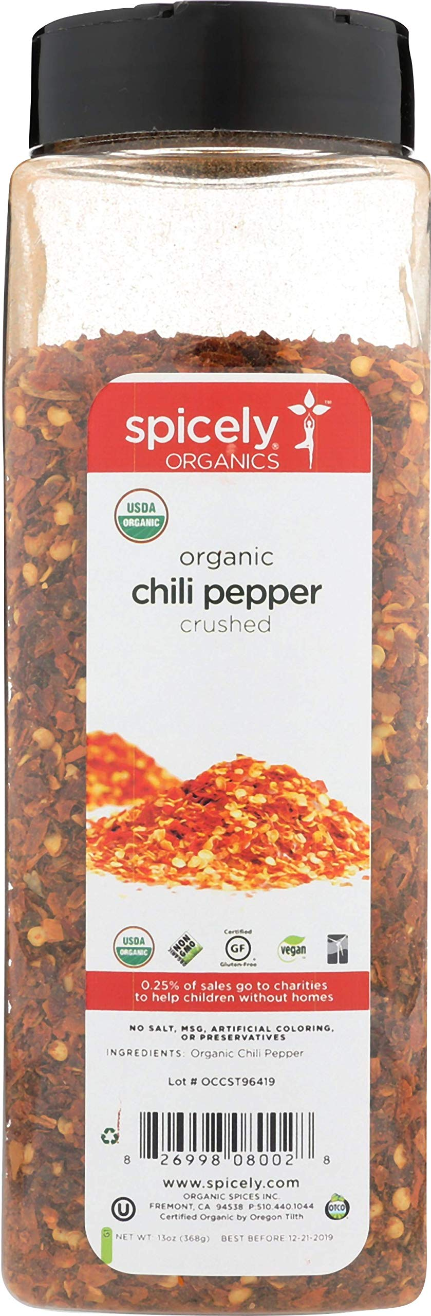 Spicely Organic Chili Crushed 13 Oz Certified Gluten Free