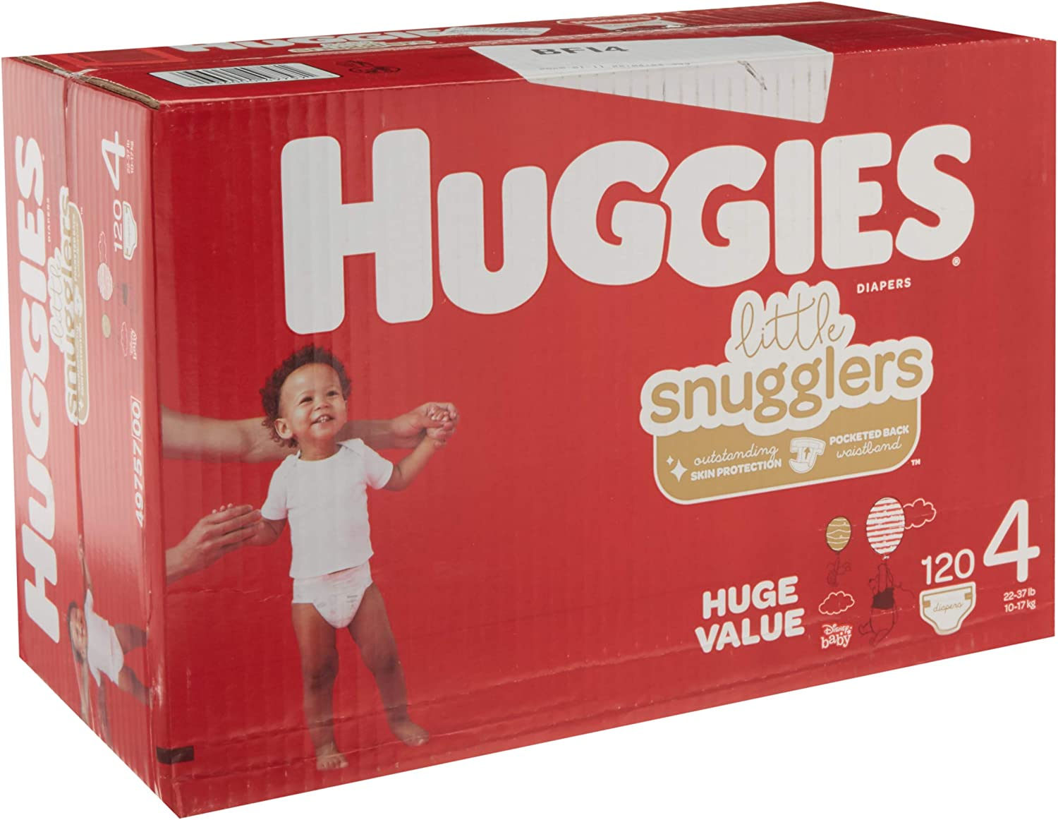 HUGGIES Little Snugglers Baby Diapers, Size 4 (22-37 Lb.), Huge Pack (Packaging May Vary), 120 Count