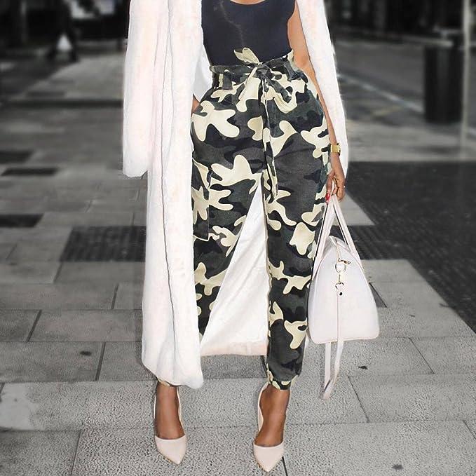 FRAUIT damskie spodnie Camouflage, sportowe spodnie dresowe, z paskiem, z boku, z zamkiem błyskawicznym, kolorowe spodnie do biegania, spodnie do spędzania wolnego czasu: Odzież