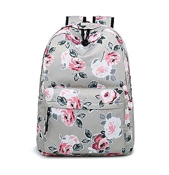 b6c3800a11 Joymoze Casual Lightweight Fashion Print Backpack Cute School Bag for Teen  (Grey Peony)
