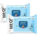 Kido Gentle Baby Wet Wipes with Aloe Vera, 15 cm x 20 cm, Combo of 2 (Kido Blue, 80 * 2=160 Count)