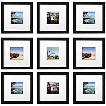 Amazon.com - Gallery Perfect 9 Piece White Square Photo Frame Wall ...