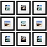 Golden State Art, Smartphone Instagram Frames Collection,Set of 9, 8x8-inch Square Photo Wood Frames White Photo Mat & Real Glass 4x4 Photo, Black