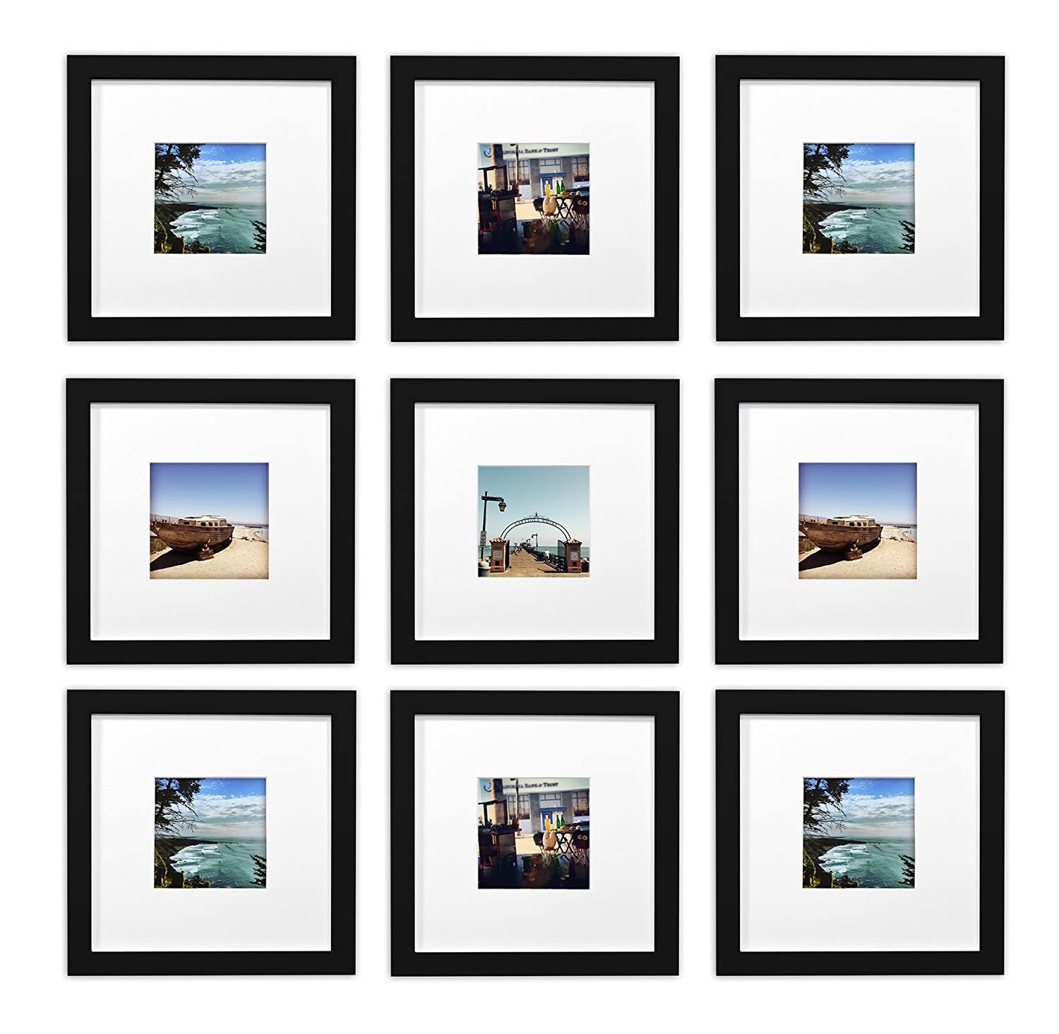 Black 9 golden State Art, Smartphone Instagram Frames Collection,Set of 9, 8x8-inch Square Photo Wood Frames White Photo Mat & Real Glass 4x4 Photo, Black