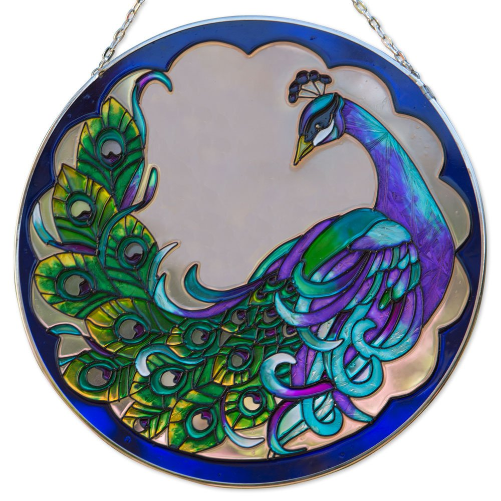 Bits and Pieces Peacock Art Glass Suncatcher - The majestic peacock is captured in an artistic suncatcher - A striking gift 9-7/8'' in diameter