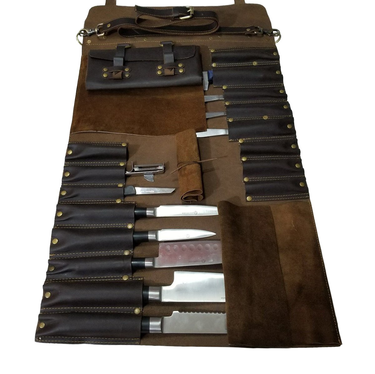 Lightweight Genuine Premium Leather 16 Slots Dark Brown Chef Knife Bag/Chef Knife Roll