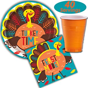 Turkey Thanksgiving Party Supplies - 40 Servings - Paper Dinner Plates, Napkins, Plastic Cups (12 oz) - Fun and Creative Colored Disposable Tableware Kit for Kids and Adults