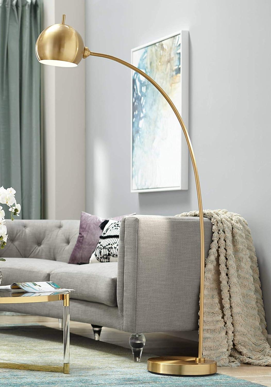 Capra Modern Chairside Arc Floor Lamp Antique Brass Swivel Head for Living Room Reading Bedroom Office - Possini Euro Design