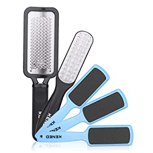 Foot Scrubber Pedicure Tools Rasp - 5 PCS KENED Foot File Callus Remover For Feet To Remove Hard Skin - 2 X Stainless Steel Black, 3 X Plastic Blue