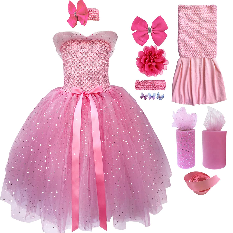 852dfb1123 Amazon.com  BINFAR Girls Long Princess Tutu Dresses Handmade Halloween Party  Birthday Christmas Dress for Baby and Toddler Girl  Clothing