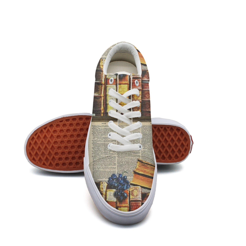 Ouxioaz Womens Canvas Shoe Vintage Books Dictionary Skating Shoes