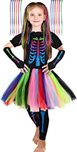 Girl's Funky Skeleton Bones Costume Set with 12 Pieces Hair Extensions for Halloween (Medium)