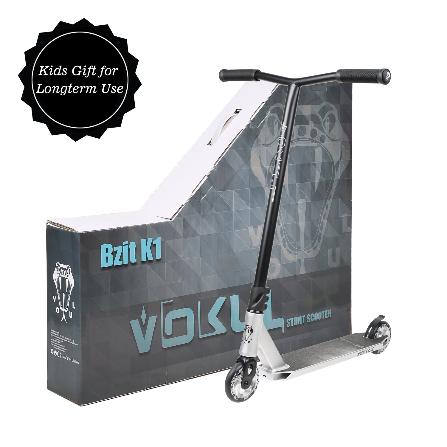 VOKUL K1 Complete Pro Scooter for Kids Boys Girls Teens Adults Up 7 Years - Freestyle Tricks Pro Stunt Scooter with 110mm Metal Wheels - High Performance Gift for Skatepark Street Tricks by VOKUL (Image #3)